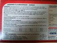 Lasagnes Bolognaise Surgelées, 1kg - Ingredients