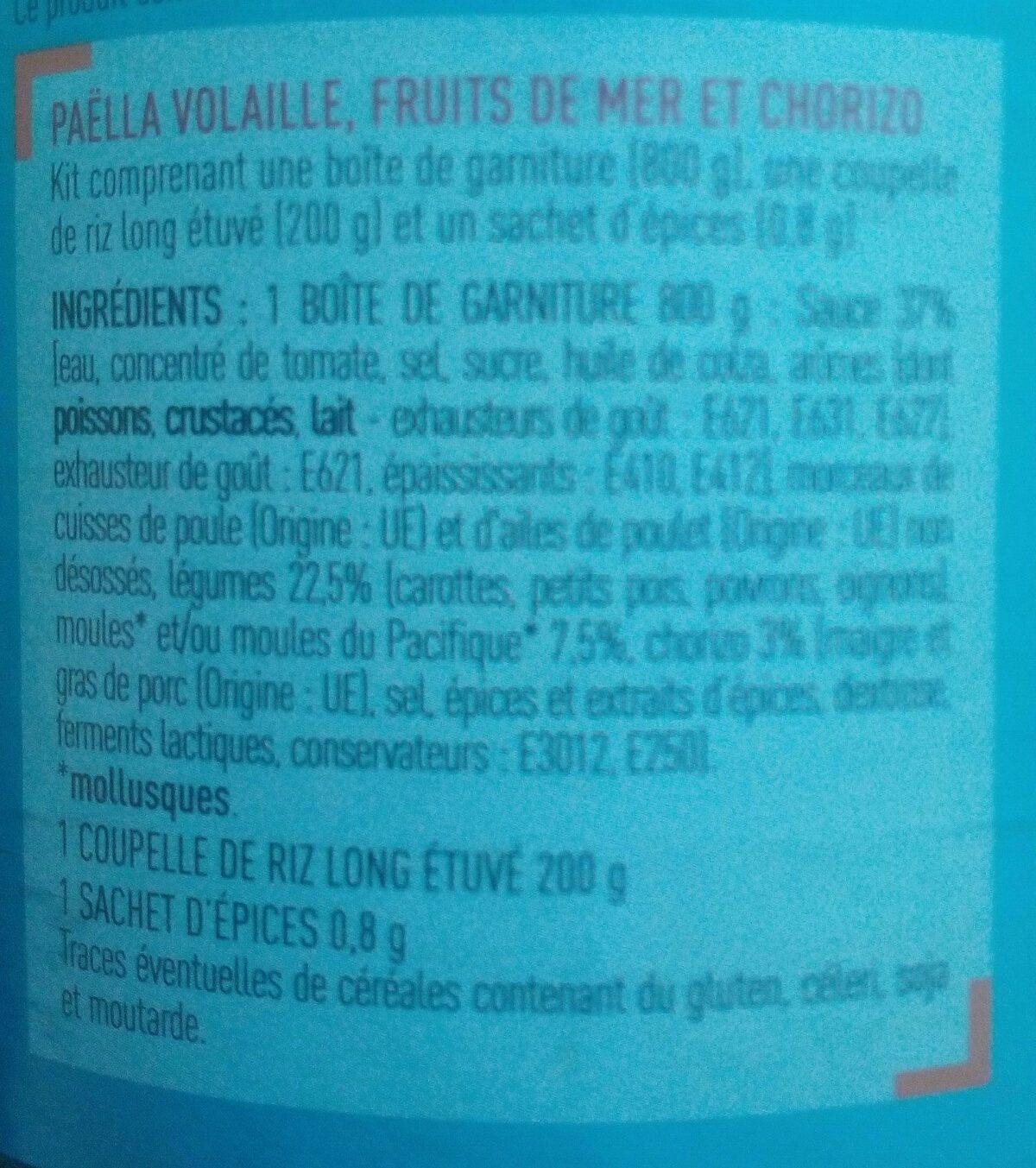 Paëlla (Volaille, Fruits de mer et Chorizo) - Ingrediënten - fr