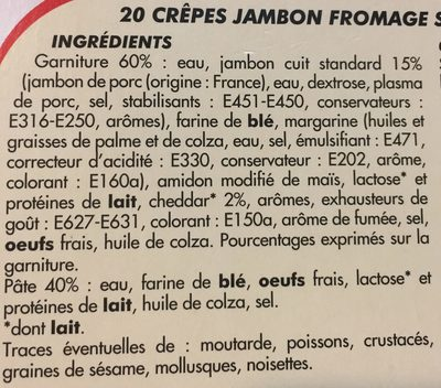 20 crepe jambon fromage - Ingredients - fr