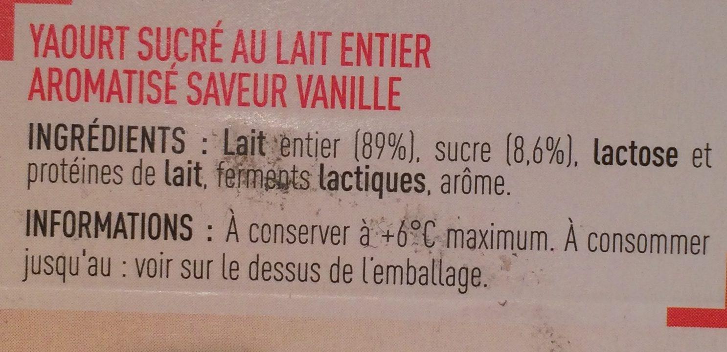 Yaourt saveur vanille - Ingrediënten