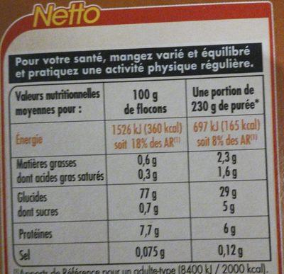Purée nature en flocons - Informations nutritionnelles - fr