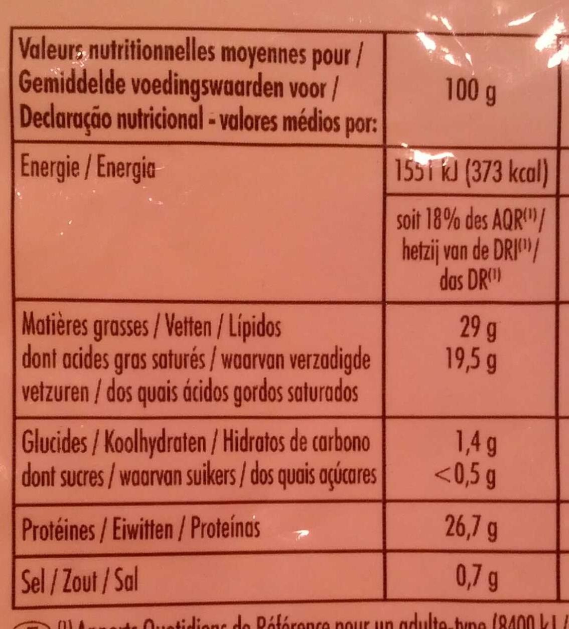 Emmental français râpé - Informations nutritionnelles - fr