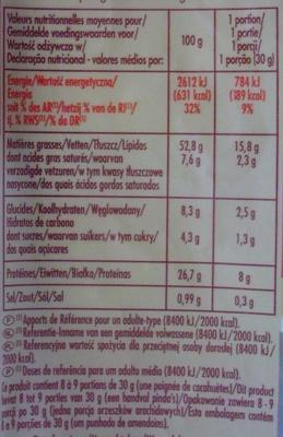 Cacahuètes grillées et salées - Voedigswaarden