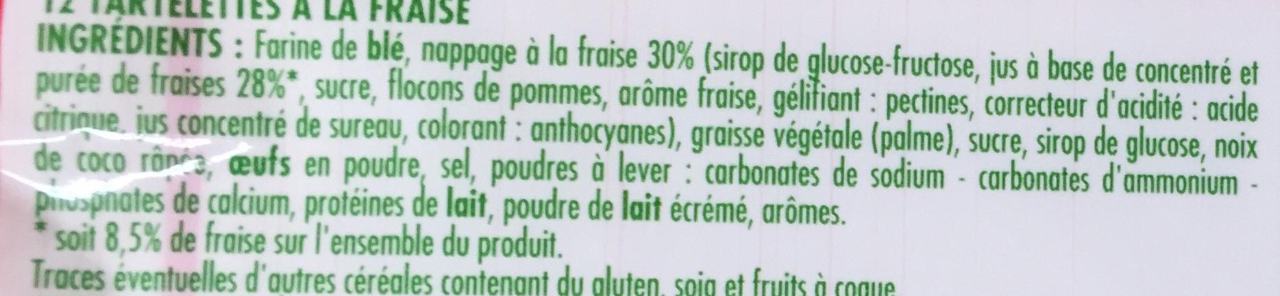Tartelettes à la fraise - Ingrédients