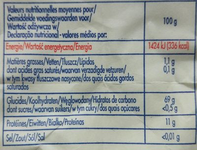 Farine de blé T55 - Nutrition facts - fr
