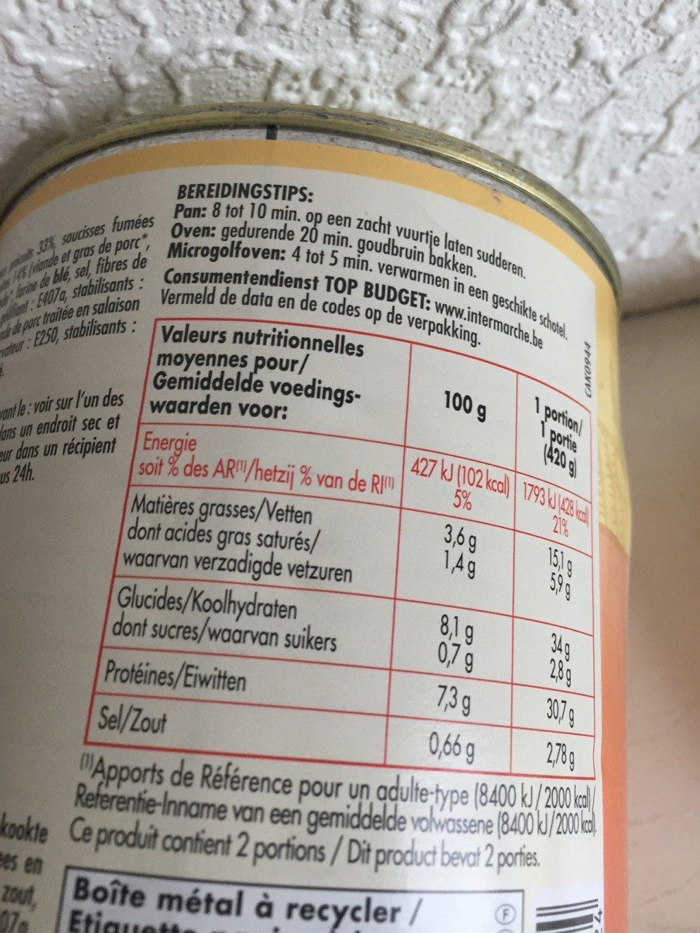 Cassoulet - Nutrition facts