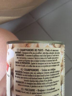 Champignons de Paris  - Pies et morceaux - 成分 - fr