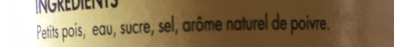 Petits pois très fins à l'étuvée - Ingrediënten - fr