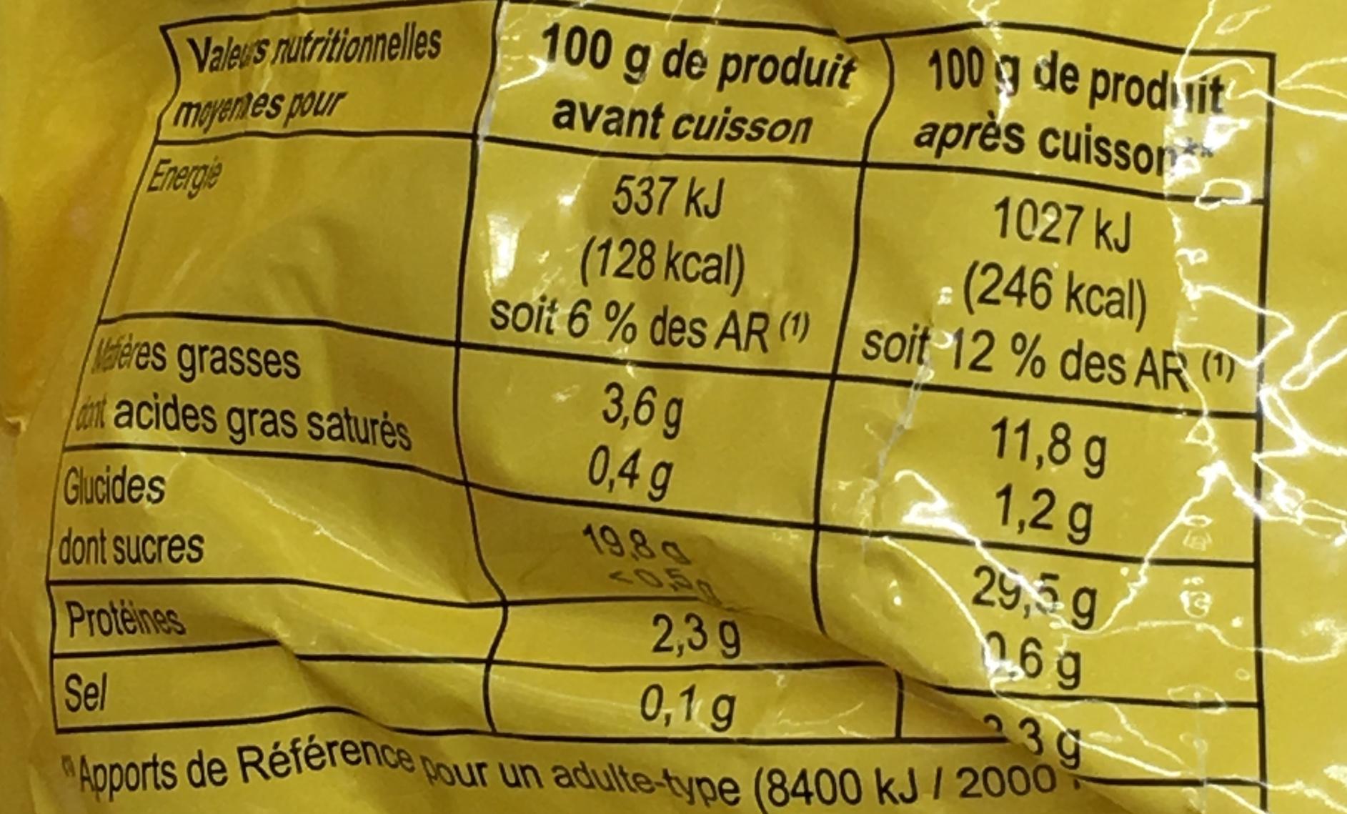 Pommes Frites préfrites et surgelées - Informations nutritionnelles - fr