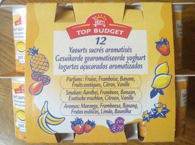 12 Yaourts sucrés aromatisés (Parfums : Fraise, Framboise, Banane, fruits exotiques, Citron, Vanille) - Produit
