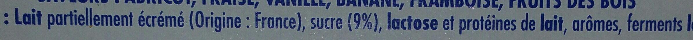 12 Yaourts sucrés aromatisés (Parfums : Fraise, Framboise, Banane, fruits exotiques, Citron, Vanille) - Ingrédients