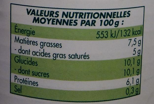 Lait concentré entier non sucré - Informations nutritionnelles - fr