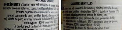 Saucisses Lentilles - Ingredients - fr
