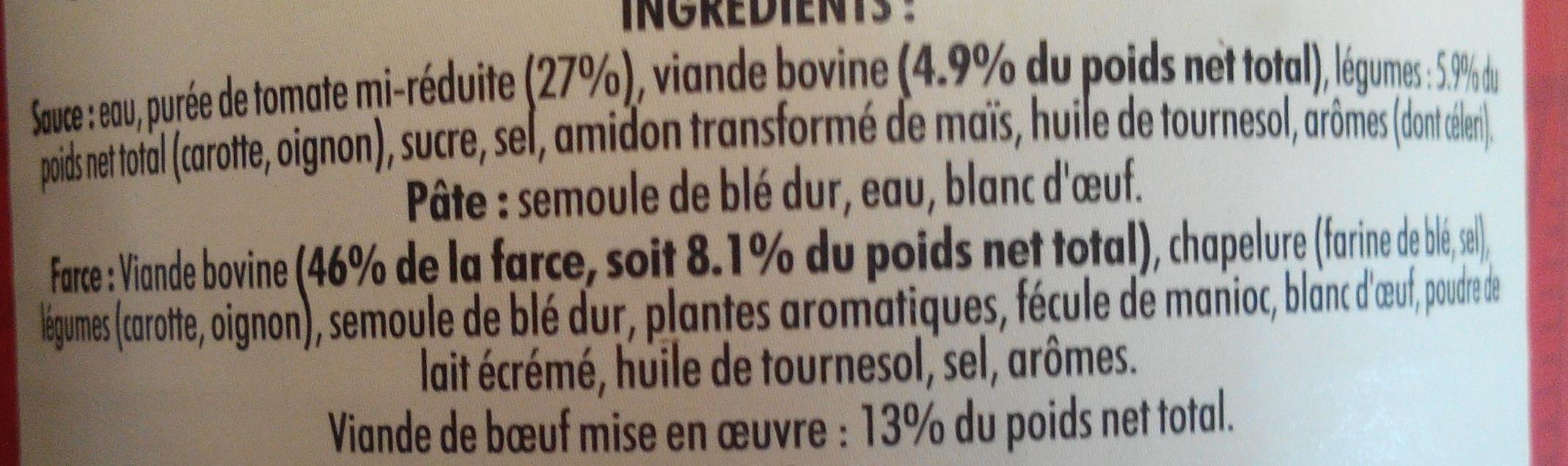 Cannelloni à la sauce italienne (pur bœuf) - Inhaltsstoffe - fr