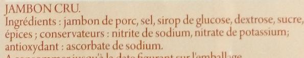 Tranchettes de Jambon Cru - Ingrédients