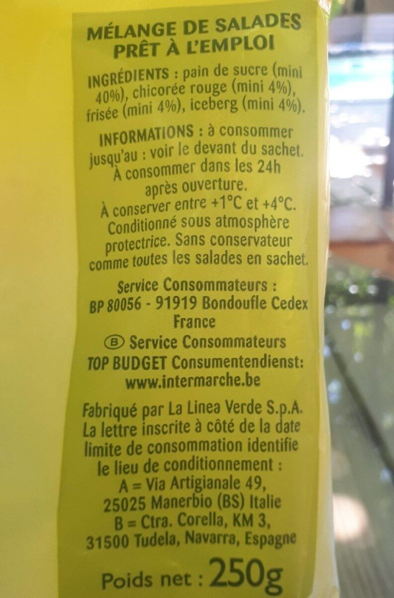 Salade mélangée - Nutrition facts - fr