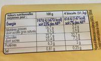 Galettes - Voedingswaarden