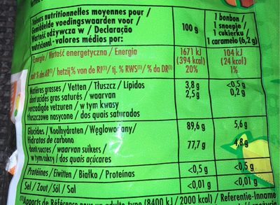 Bonbons tendres - Nutrition facts