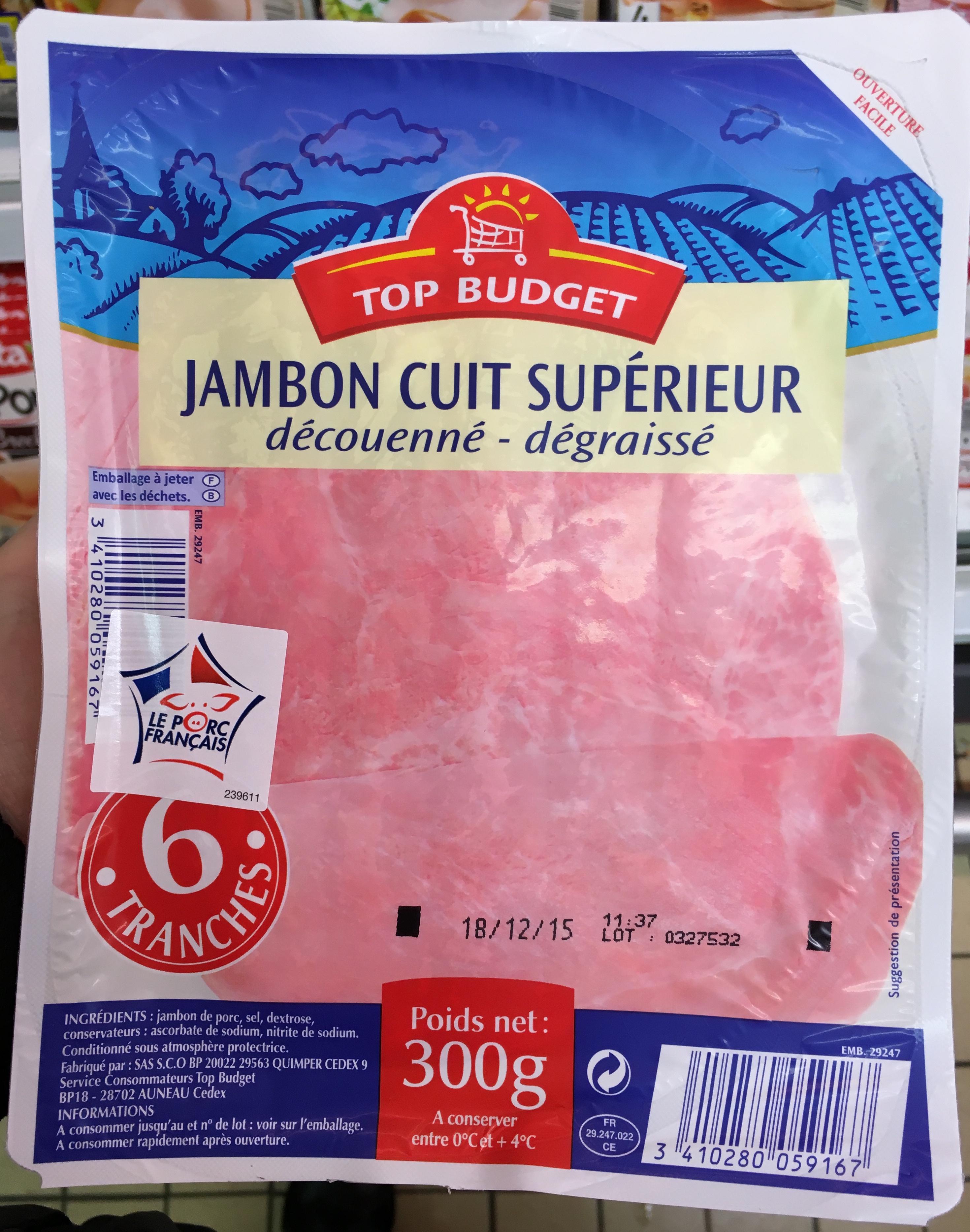 jambon cuit supérieur (découenné - dégraissé) - top budget - 300 g