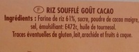 Riz soufflé goût cacao - Ingrédients - fr