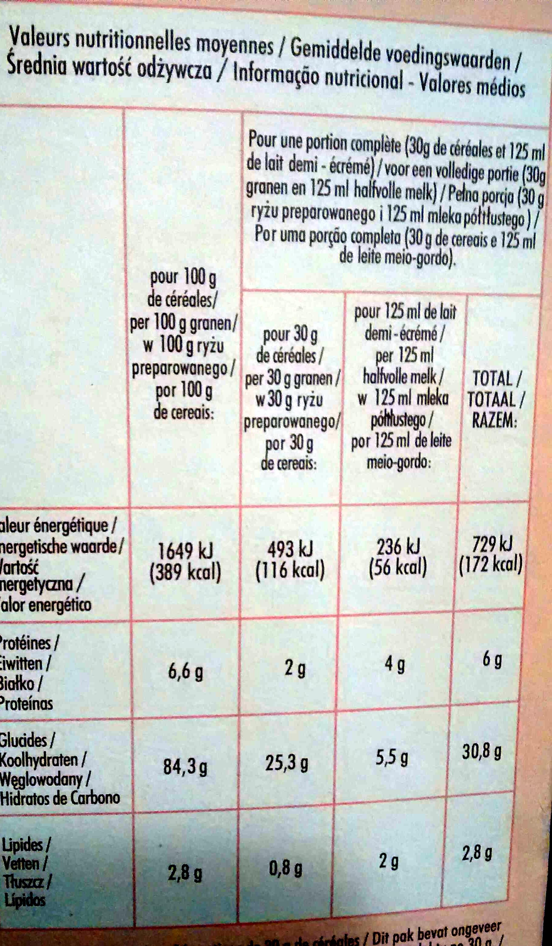 Riz soufflé goût cacao - Informations nutritionnelles - fr