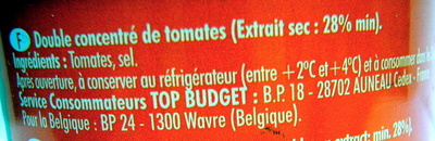 Double concentré de tomates (28%) - Ingredients - fr