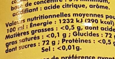 sirop de grenadine - Nutrition facts - fr