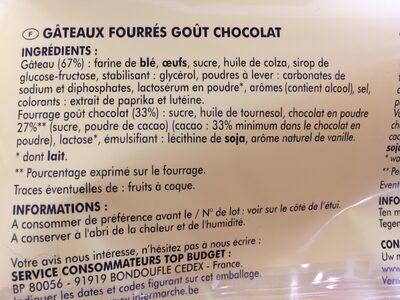 Gâteau fourrés goût chocolat - Ingrédients - fr