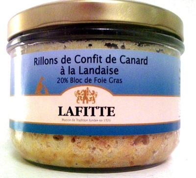 Rillons de Confit de Canard à la Landaise 20% Bloc de Foie Gras - Produit - fr