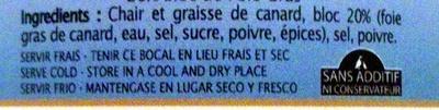 Rillons de Confit de Canard à la Landaise 20% Bloc de Foie Gras - Ingrédients - fr