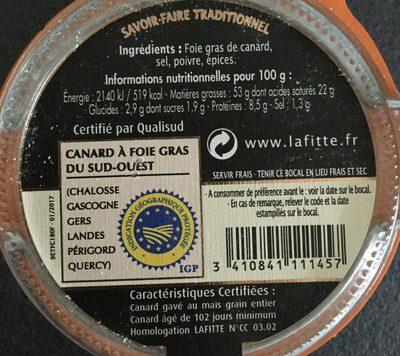Fois gras de canard entier des landes - Ingrediënten - fr