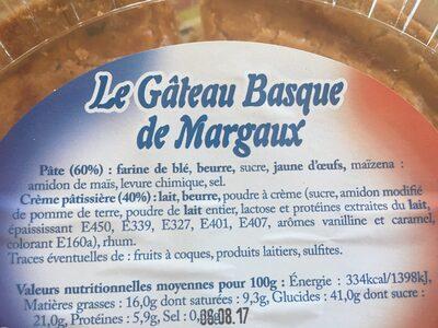 Gateau Basque - Ingrédients - fr