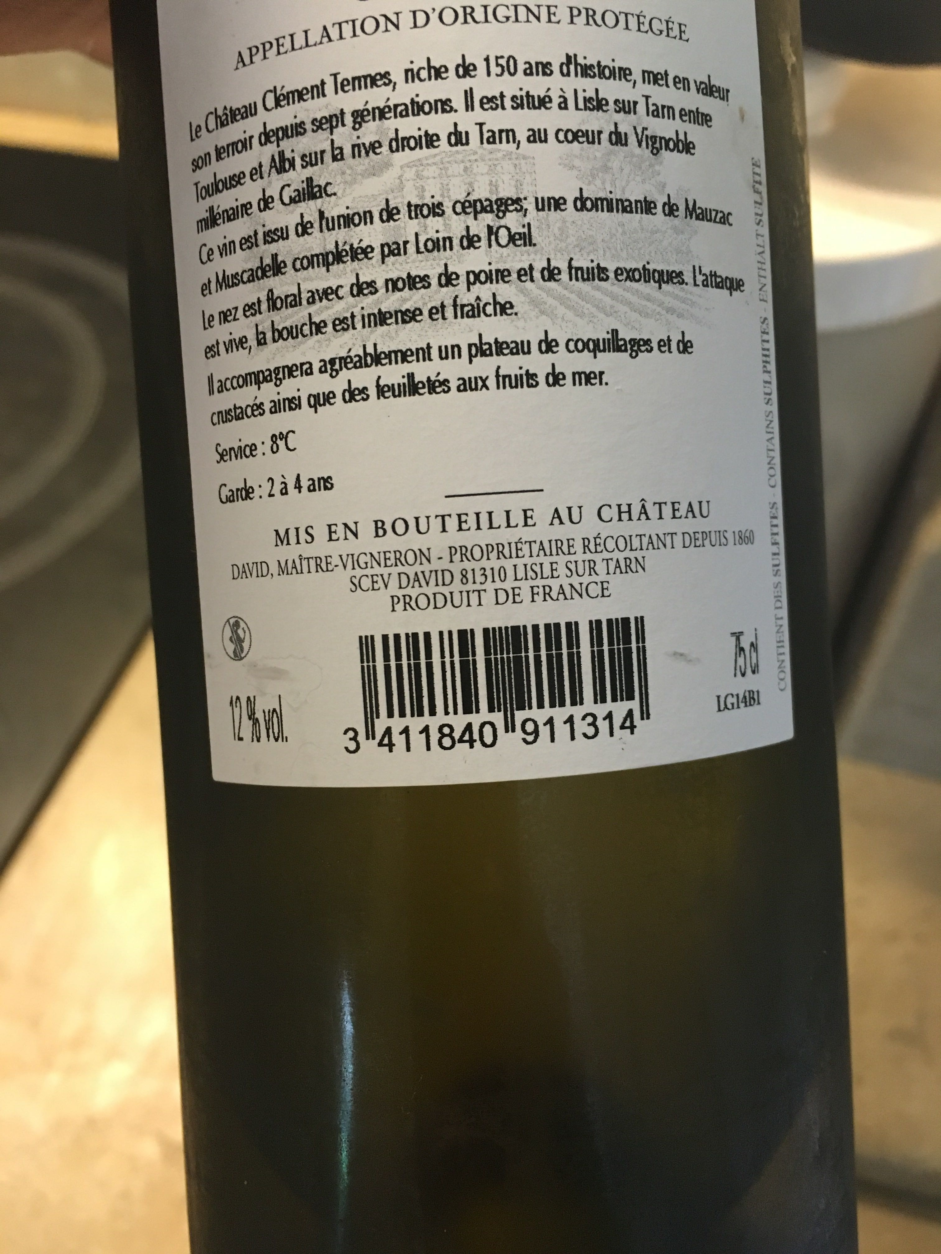 Vin blanc sec 2014 - Product - fr