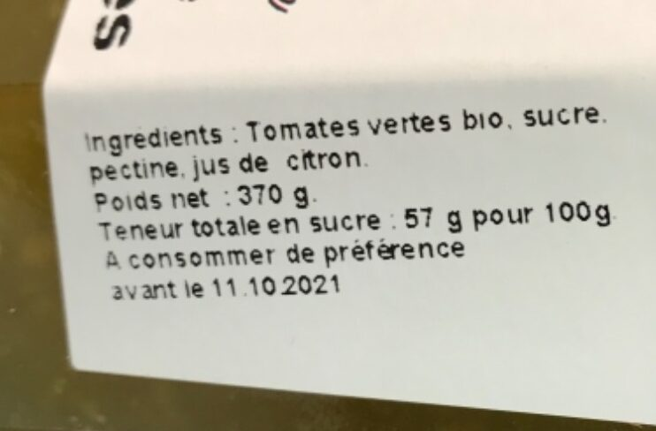 Confiture fermière de tomates vertes - Ingredients