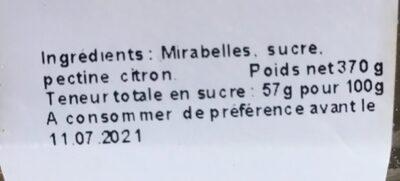 Confiture de mirabelles - Ingrédients