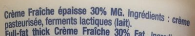 La crème fraîche épaisse - Ingrédients