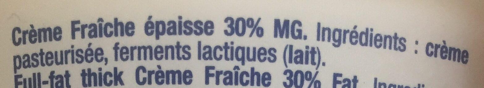 La crème fraîche épaisse - Ingrédients - fr