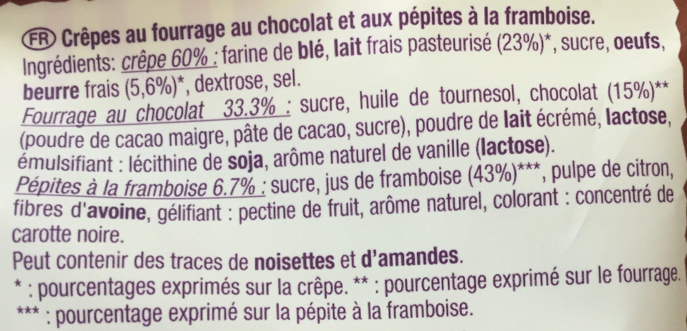 Les Crêpes au Fondant Chocolat & à la Framboise - Ingrédients - fr
