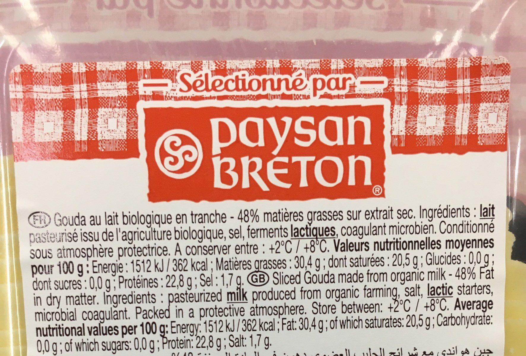 Le gouda bio - Ingrediënten - fr
