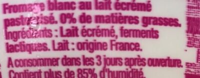 Fromage blanc 0% - Ingrédients - fr