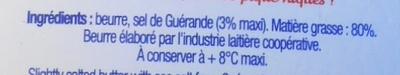 20 Petits Beurres au Sel de Guérande (80 % MG) - Ingrédients
