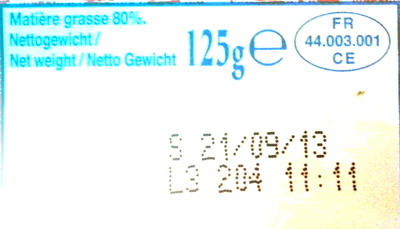 Le Beurre Moulé Demi-Sel (80 % MG) - Nutrition facts