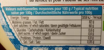 Le Beurrier Doux - Voedingswaarden - fr