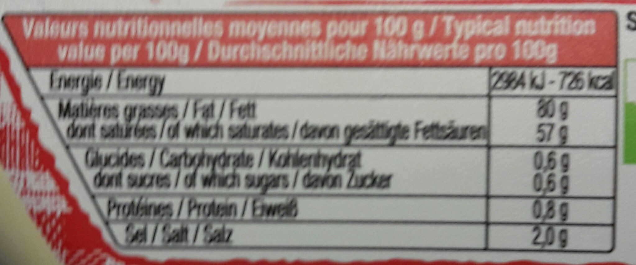 Le Beurrier Demi-Sel - Nutrition facts - fr