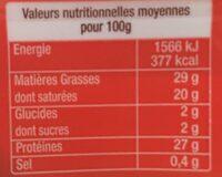 L'emmental - Voedingswaarden - fr