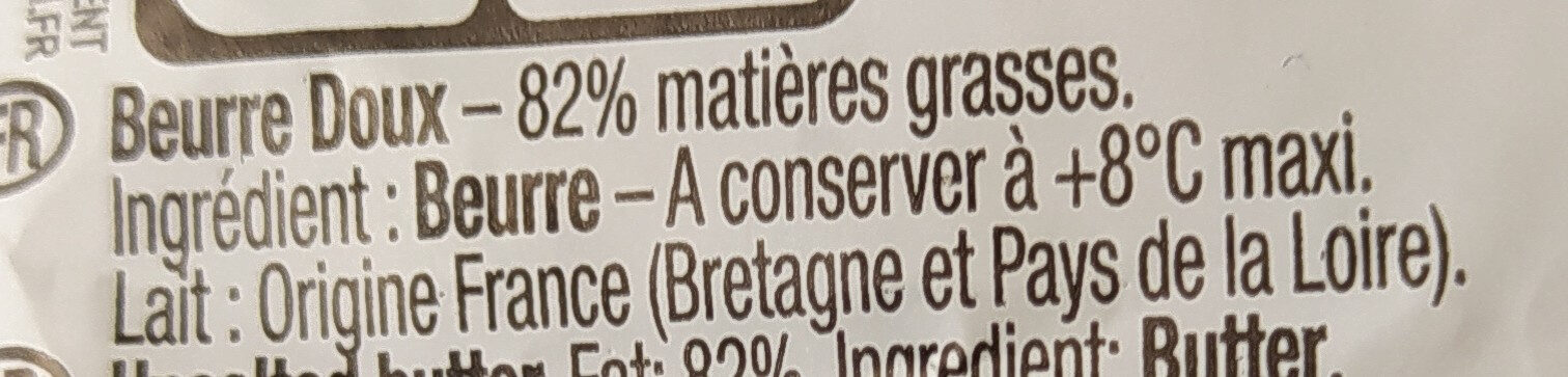 Le Beurre Moulé Doux (82 % MG) - Ingrédients - fr