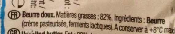 Le Beurre Moulé Doux (82 % MG) - Informations nutritionnelles - fr