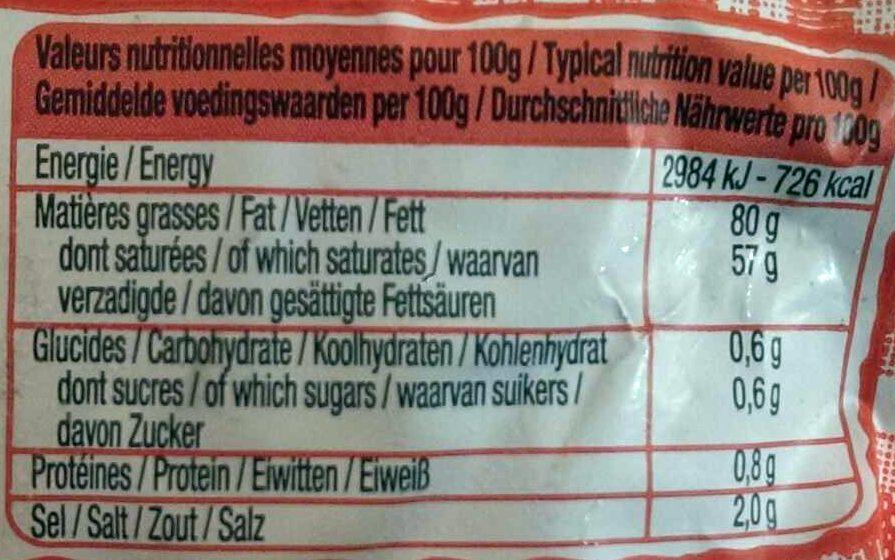 Le Beurre Moulé demi-sel (80 % MG) - Informations nutritionnelles