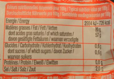 Beurre moulé demi-sel - Informations nutritionnelles - fr