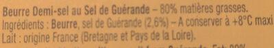 Beurre Aux Cristaux de Sel de Guérande - Ingrédients